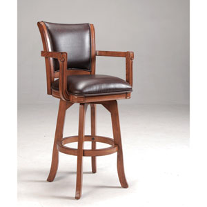 Park View Medium Brown Oak Swivel 30-Inch Barstool with Dark Brown Bonded Leather