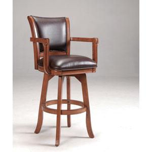 Park View Medium Brown Oak Swivel 30-Inch Barstool with Dark Brown Bonded Leather