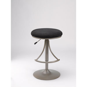 Venus Champagne Metallic Powder Coat Backless Barstool with Black Suede