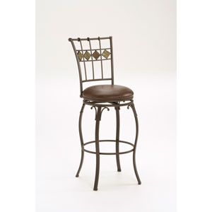 Lakeview Brown Swivel Barstool with Slate Back