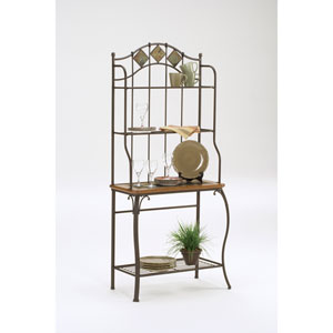 Lakeview Brown Baker Rack with Slate Top