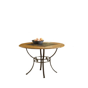 Lakeview Brown Round Dining Table with Slate Shelf