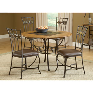 Lakeview Brown Five-Piece Round Dining Set with Slate Chairs