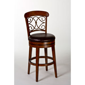 Bergamo Medium Brown Cherry Swivel Counter Stool