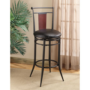 Mid-Town Black/Dark Cherry Wood Ring Back 30-Inch Swivel Counter Stool