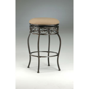 Lincoln Black Gold Scroll Top Backless Swivel Counter Stool