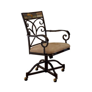 Pompei Black Gold/Slate Mosaic Slate Caster Dining Chairs, Set of Two