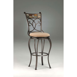 Pompei Black Gold Slate Swivel Barstool
