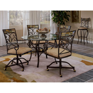 Pompei Black Gold/Slate Mosaic Dining Table Set with Four Castor Chairs