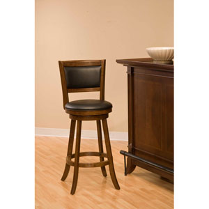 Dennery Cherry Wood Swivel Counter Stool with Brown Vinyl
