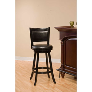 Dennery Black Wood Swivel Counter Stool with Vinyl