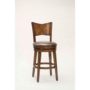 Jenkins Rustic Oak Wood Panel Back Swivel Barstool