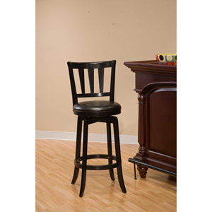 Presque Isle Black Wood Ladder Back Swivel Counter Stool with Vinyl