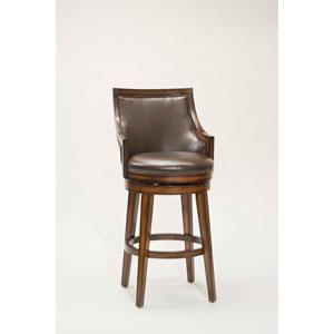 Lyman Rustic Oak Upholstered Back Wood Swivel Counter Stool