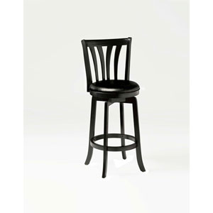 Savana Black Wood Swivel Counter Stool with Vinyl