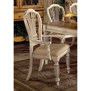 Wilshire Antique White Dining Arm Chair, Set of Two