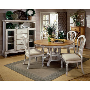 Wilshire Antique White Round Dining Table and Four Chairs