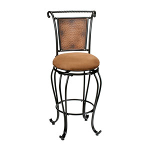 Milan Black/Copper Accent  Swivel Counter Stool