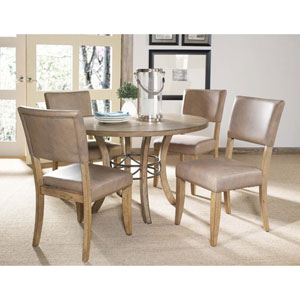 Charleston Desert Tan Five-Piece Wood Base Dining Set w/Parson Chairs