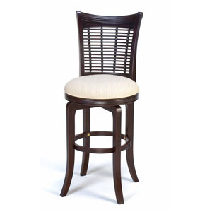 Bayberry Dark Cherry Wood Swivel Barstool with Fabric Seat