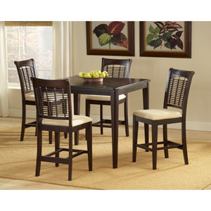 Bayberry Dark Cherry 42-Inch Square Counter Height Gathering Table with Four Chairs
