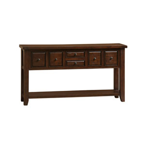 Tuscan Retreat Rustic Mahogany 6 Drawer Hall Table