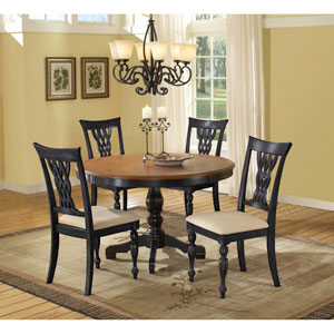 Embassy Cherry Round Five-Piece Dining Set with Wood Top