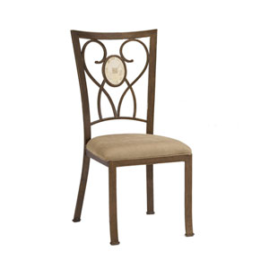 Brookside Brown Powder Coat Oval Fossil Dining Chair, Set of Two