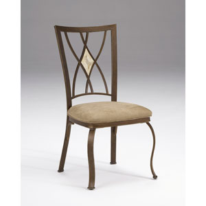 Brookside Brown Powder Coat Diamond Fossil Dining Chair, Set of Two