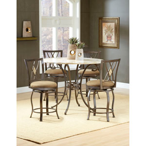 Brookside Brown Powder Coat Gathering Table and Four Diamond Counter Stools