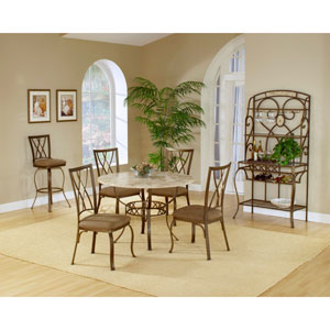 Brookside Brown Powder Coat Metal Round Dining Table with Four Diamond Back Chairs