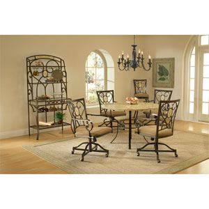 Brookside Brown Powder Coat Five-Piece Round Dining Set with Oval Back Caster Chairs