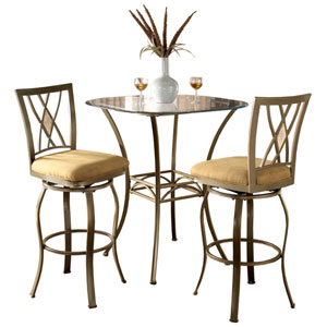 Brookside Brown Powder Coat Bistro Table and Two Diamond Back Barstools