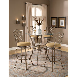 Brookside Brown Powder Coat Bistro Table and Four Hanover Barstools