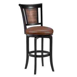 Cecily Black Copper Swivel Bar Stool with Brown Vinyl