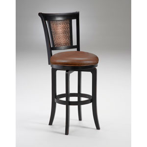 Cecily Black Honey Swivel Bar Stool