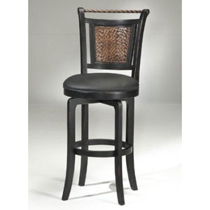Norwood Black Vinyl Swivel Counter Stool