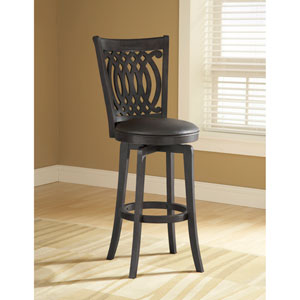 Dynamic Designs Black Van Draus Wood Swivel Barstool with Black Vinyl