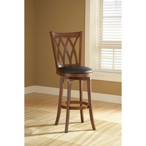 Dynamic Designs Brown Cherry Mansfield XXX Back Wood Swivel Barstool with Black Vinyl