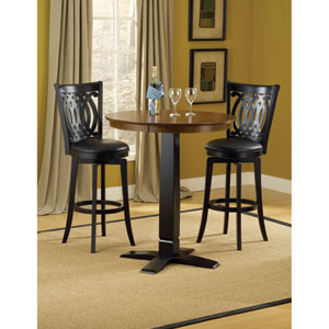 Dynamic Designs Black with Brown Cherry Pub Height Table with Two Van Draus Barstools