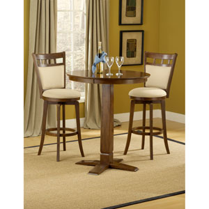 Dynamic Designs Brown Cherry  Pub Table with Two Jefferson Barstools