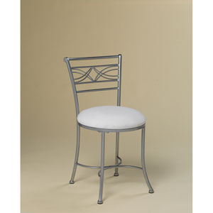 Dutton Chrome Look Powder Coat Vanity Stool with White Fabric