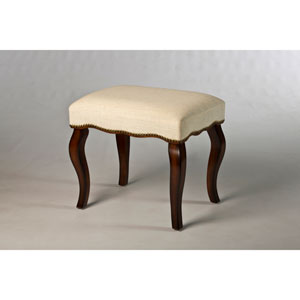 Hamilton Burnished Oak Backless Vanity Stool with Nail Head Trim