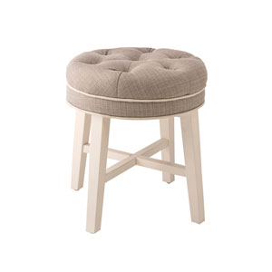 Sophia White and Gray Vanity Stool