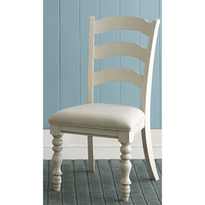 Pine Island Old White Ladder Back Side Chair, Set of 2
