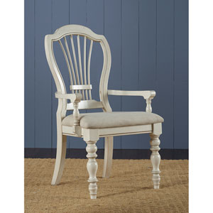 Pine Island Old White Wheat Back Arm Chair, Set of 2