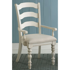 Pine Island Old White Ladder Back Arm Chair, Set of 2