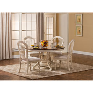 Pine Island Old White 5 Piece Round Dining Set with Wheat Back Chairs