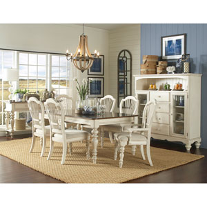 Pine Island Old White Seven Piece Dining Set with Wheat Back Chairs