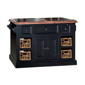 Tuscan Retreat Black with Oxford Antique Pine Large Granite Top Kitchen Island